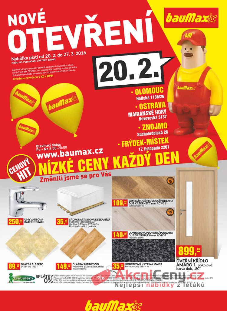 Leták Baumax - Baumax: 20.2 - 27.3, Frýdek-Místek, Olomouc, Ostrava, Znojmo - strana 1