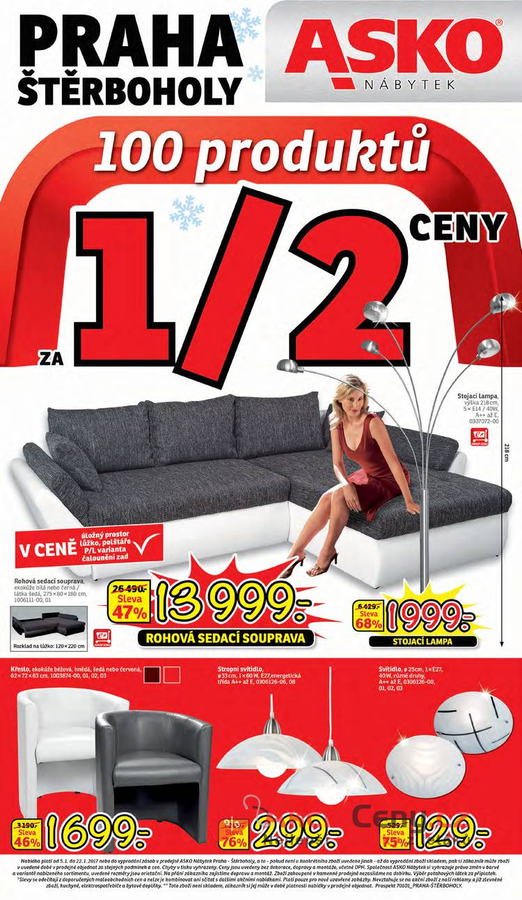 Leták Asko nábytek - Asko nábytek - Praha Štěrboholy 5.1 - 22.1 - strana 1