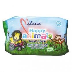 Milene Happy Animals dětské vlhčené ubrousky 60 ks