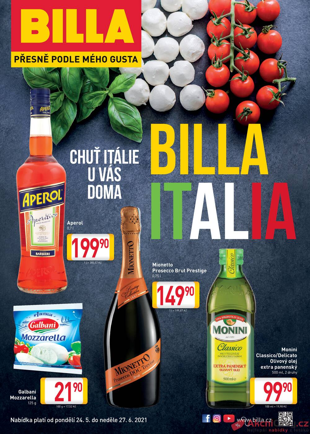 Leták Billa - Billa CHUŤ ITÁLIE od 24.5. do 27.6.2021 - strana 1
