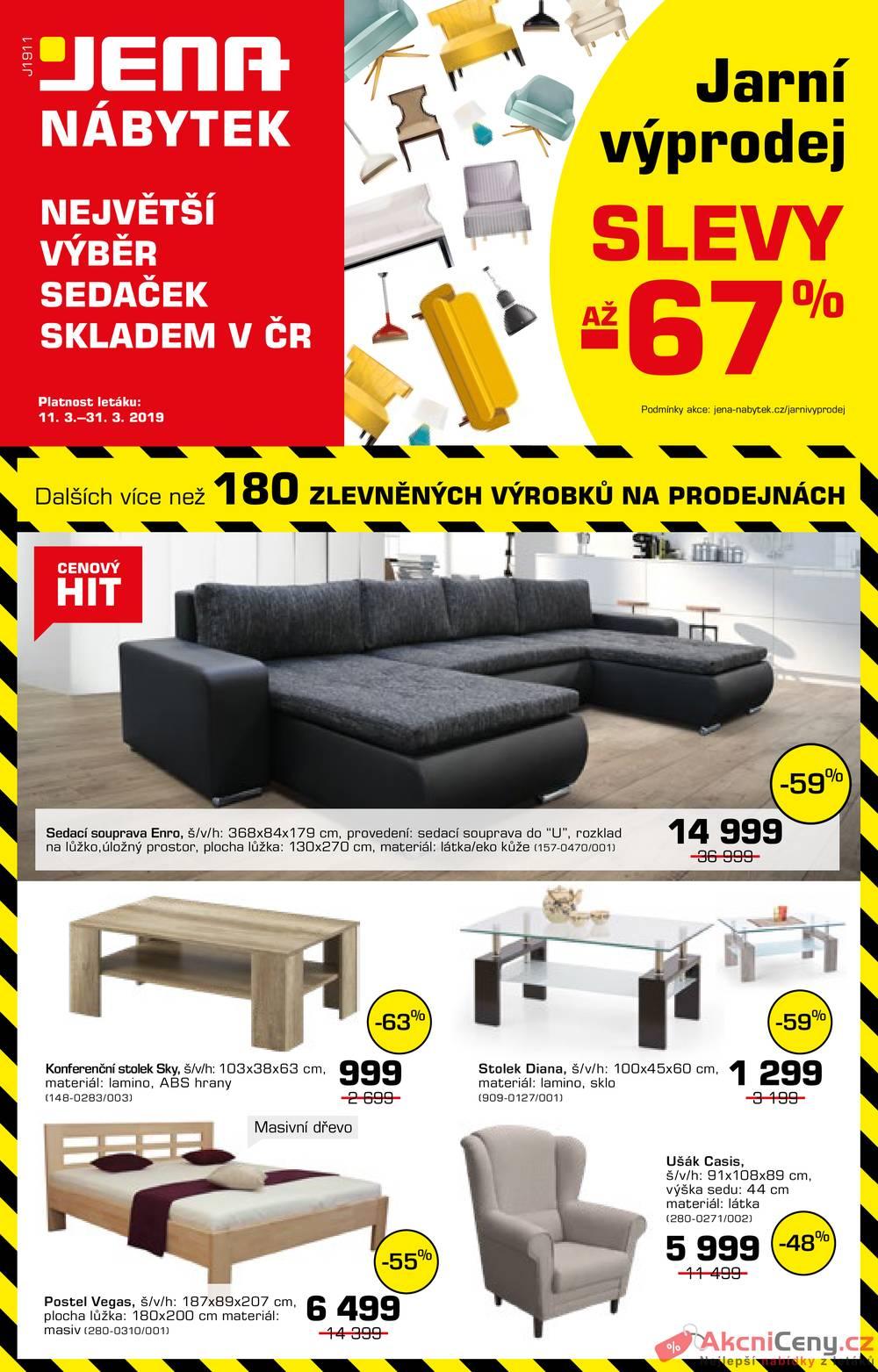 Leták JENA-nábytek - JENA-nábytek 11.3. - 31.3. - strana 1