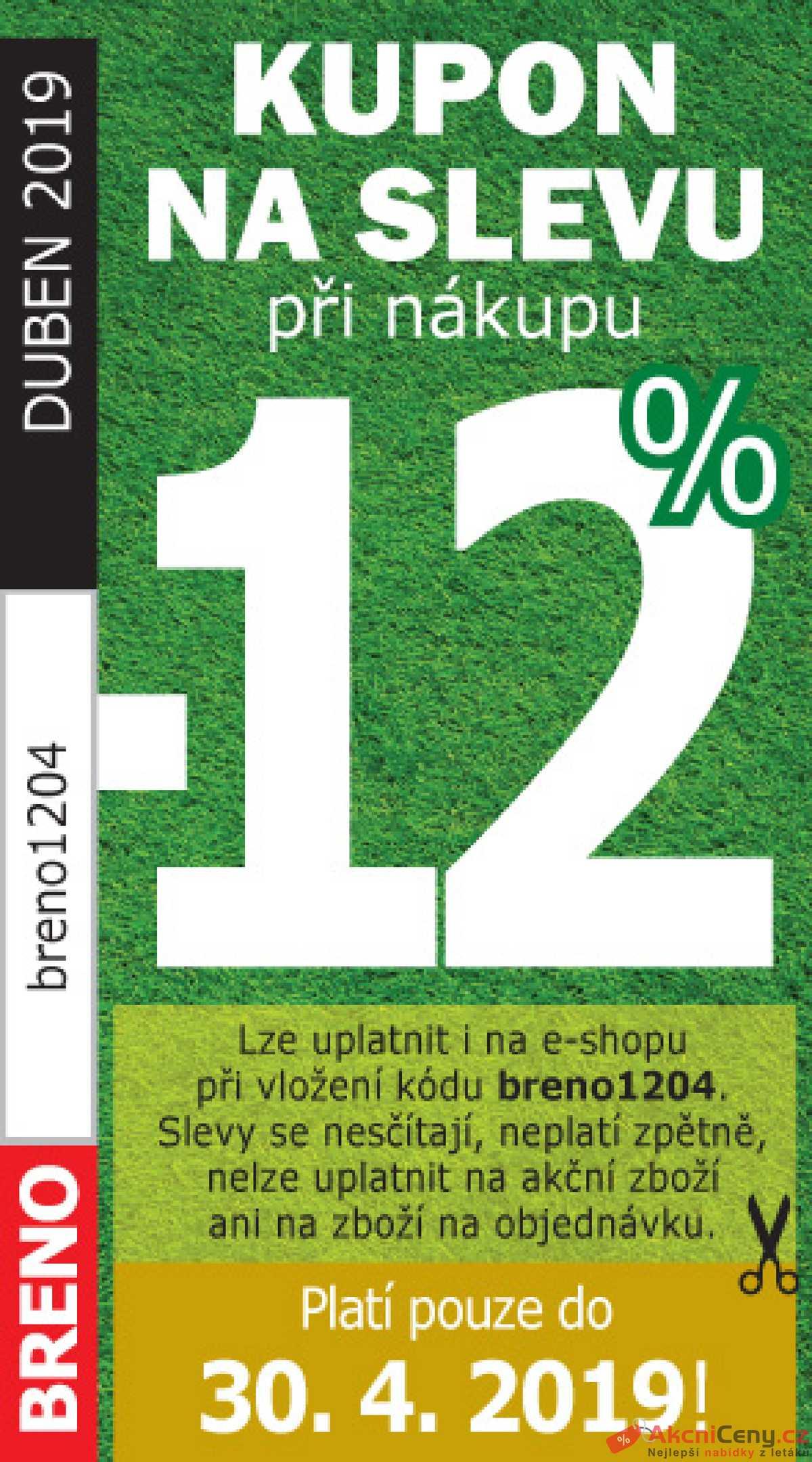 Leták Koberce BRENO - Koberce Breno kupón do 30.4. - strana 1