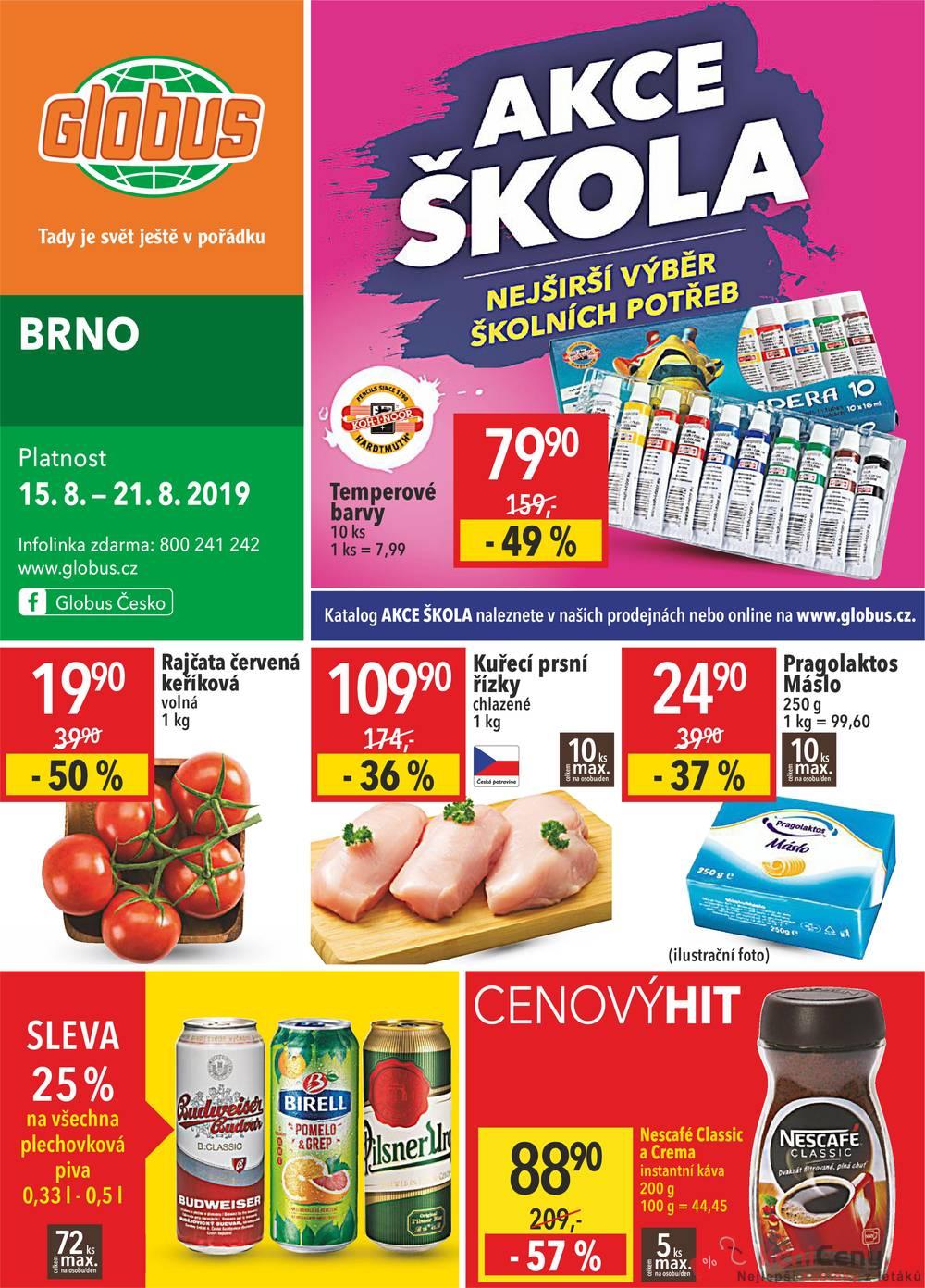 Leták Globus - Globus Brno  15.8. - 21.8. - strana 1