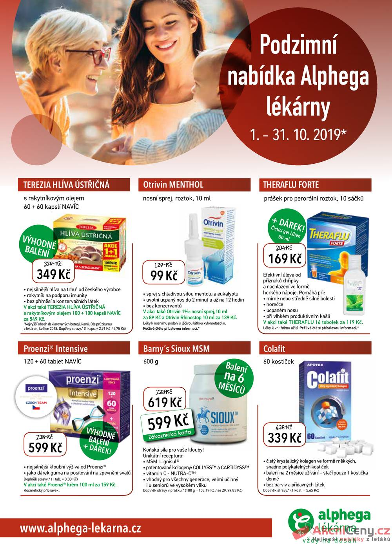 Leták Alphega Lékárna - Alphega Lékárna od 1.10. do 31.10.2019 - strana 1