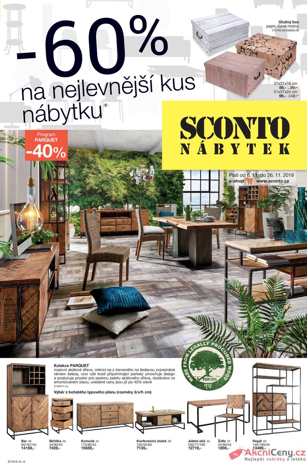 Leták Sconto nábytek - Sconto nábytek od 6.11. do 26.11.2019 - strana 1