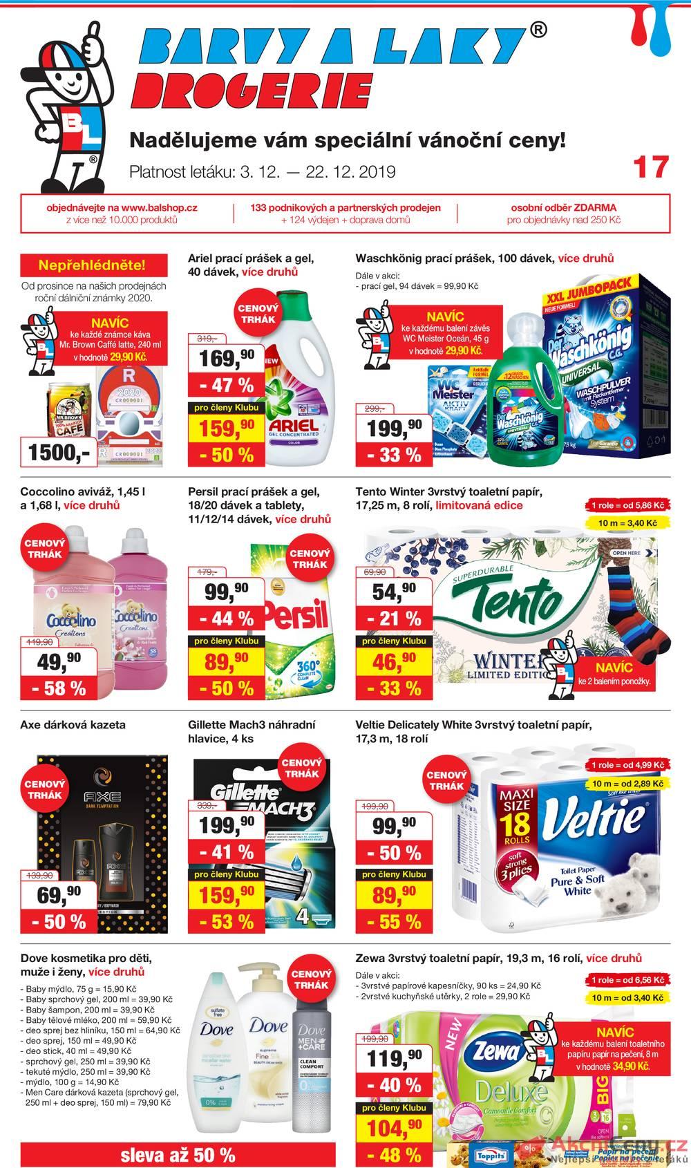 Leták Barvy a laky drogerie  - Barvy a laky drogerie od 3.12. do 22.12.2019 - strana 1
