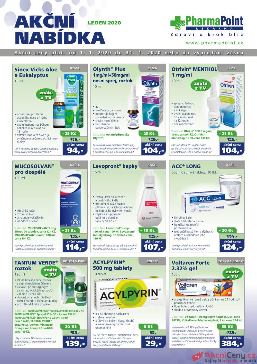 Leták PharmaPoint  - Pharma Point bez přepisu od 1.1. do 31.1.2020 - strana 1