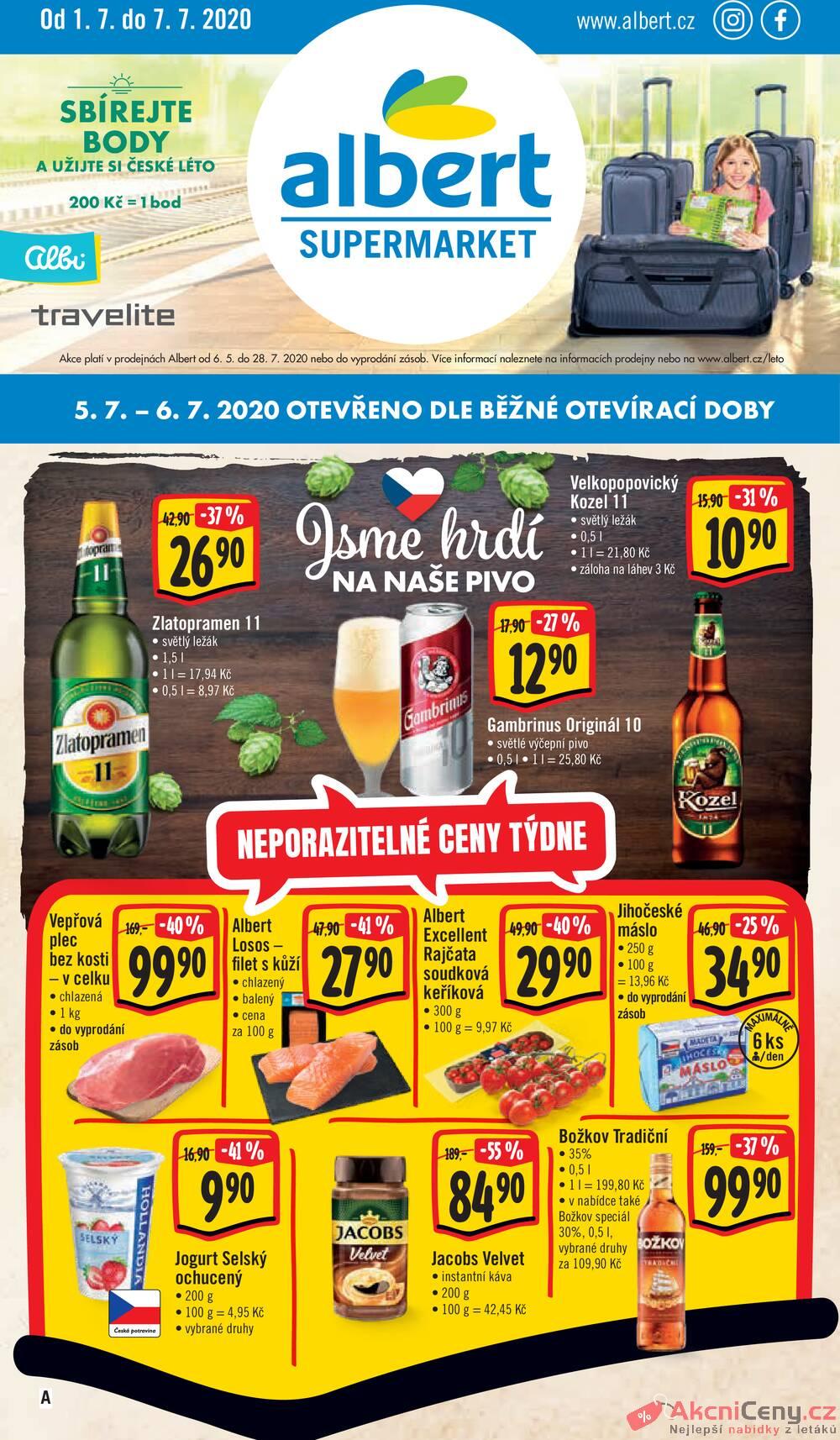 Leták Albert - Albert Supermarket od 1.7. do 7.7.2020 - strana 1