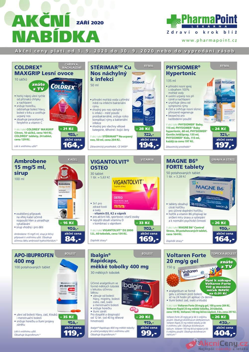 Leták PharmaPoint  - Pharma Point bez přepisu od 1.9. do 30.9.2020 - strana 1