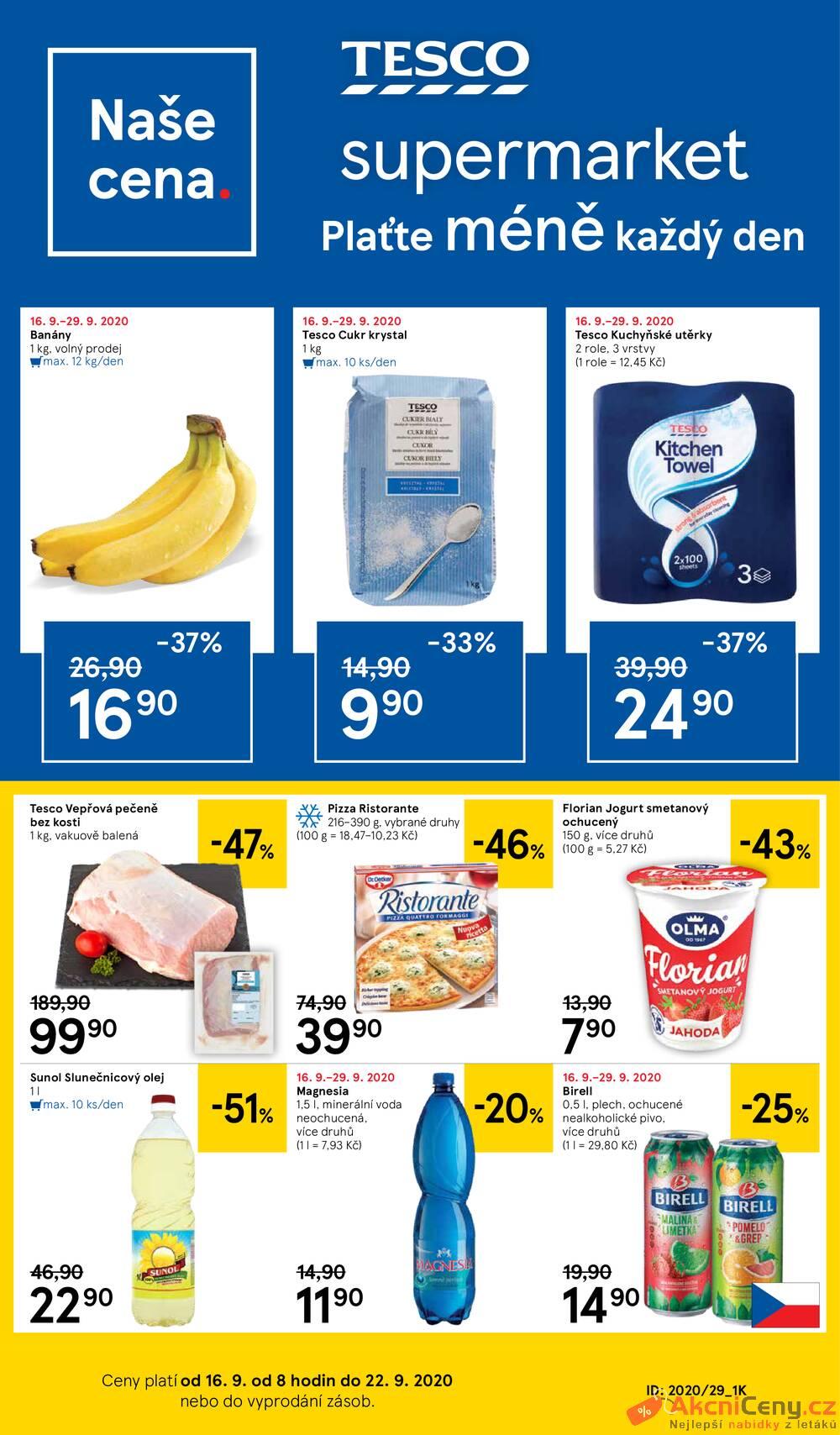 Tesco supermarkety od 16.9. do 22.9.2020