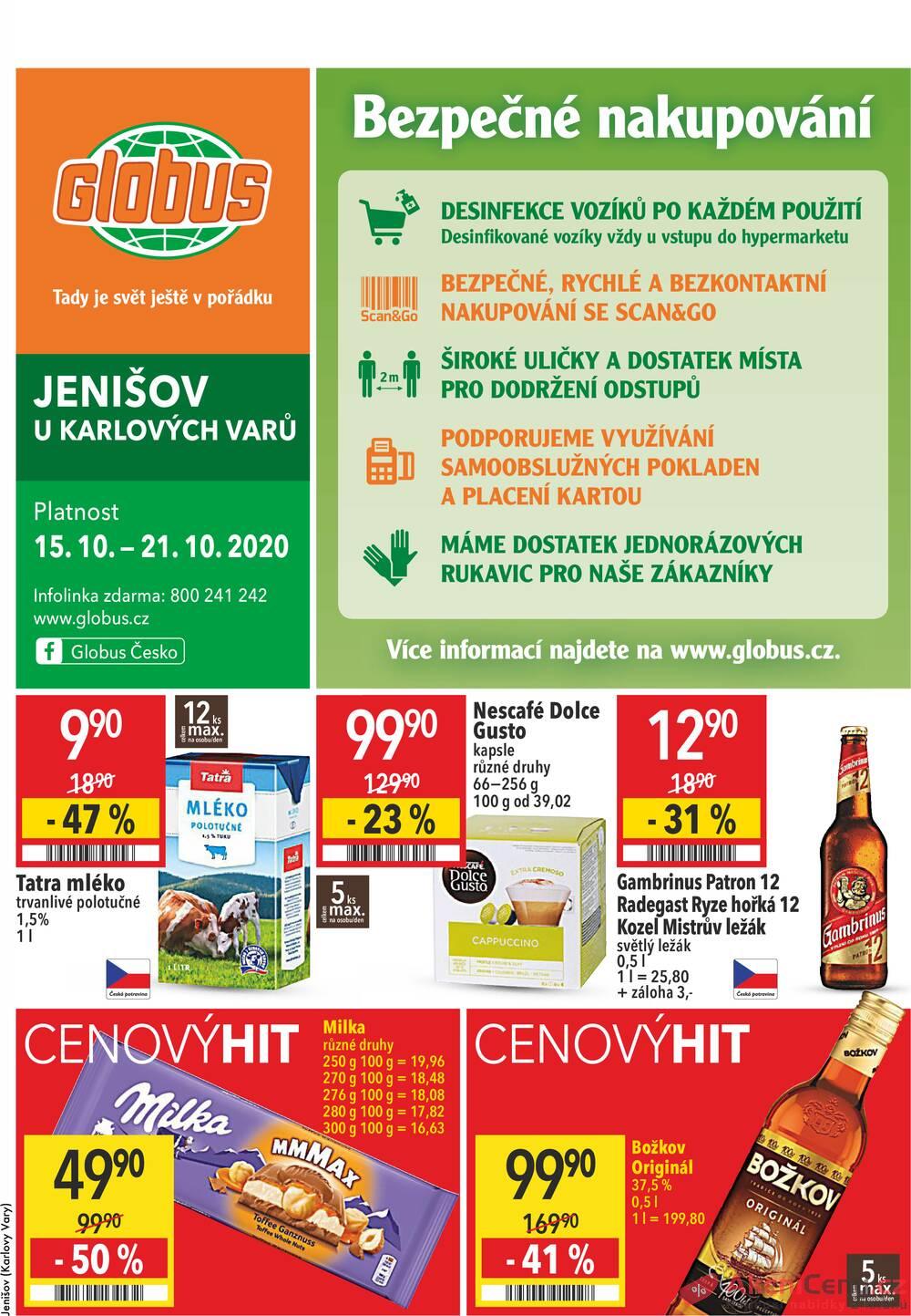 Leták Globus - Globus Jenišov  15.10. - 21.10. - strana 1