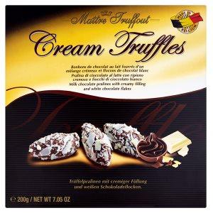 Maître Truffout Pralinky z mléčné čokolády s krémovou náplní a vločkami bílé čokolády 200g
