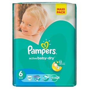 Pampers Active Baby-Dry Dětské jednorázové plenky 6 extra large 42 ks Penny Market