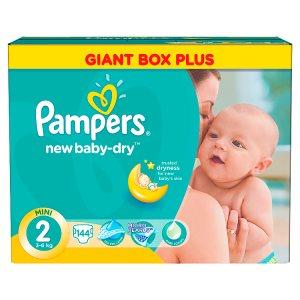 Pampers New Baby-Dry Dětské jednorázové pleny 2 mini 144 ks