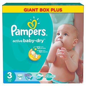 Pampers Active Baby-Dry Dětské jednorázové pleny 3 midi 126 ks Tesco