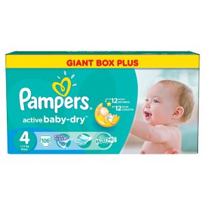 Pampers Active Baby-Dry Dětské jednorázové pleny 4 maxi 106 ks Tesco