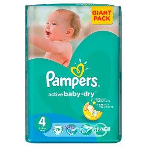 Pampers Active Baby-Dry Dětské jednorázové pleny 4 maxi 76 ks Teta drogerie