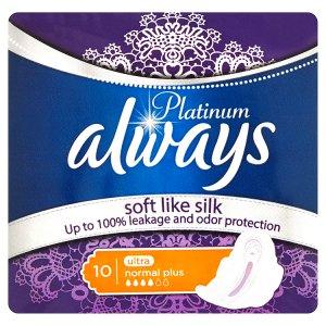 Always Platinum Ultra normal plus hygienické vložky s jemnou vůní 10 ks Ráj drogerie