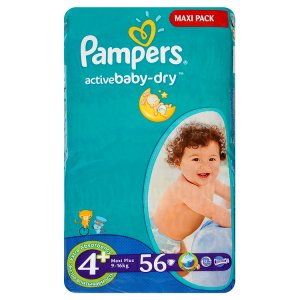 Pampers Active Baby Pleny 4+ Maxi+ 56 ks