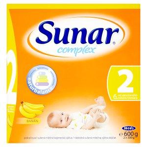 Sunar Complex 2 banán pokračovací sušená mléčná kojenecká výživa 2 x 300g