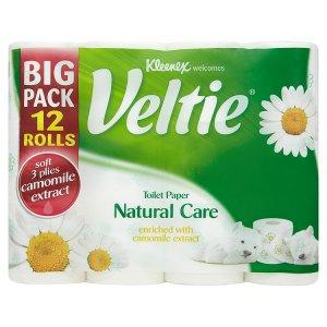 Kleenex Veltie Toaletní papír s vůní heřmánku 3 vrstvy 12 rolí Teta drogerie