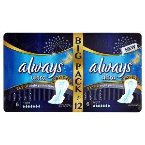 Always Ultra Extra night protection hygienické vložky 12 ks dm drogerie markt