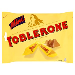 Toblerone Mini švýcarská mléčná čokoláda s medem a mandlovým nugátem 200g