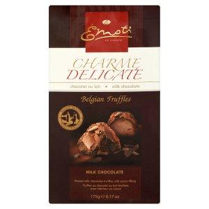 Emoti Truffle bonbóny z mléčné čokolády s kakaovou náplní zdobené vločkami z mléčné čokolády 175g