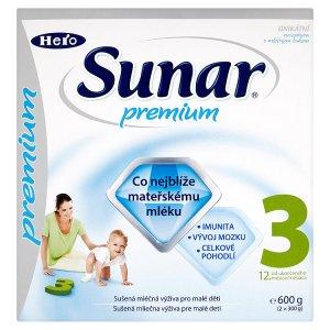 Sunar Premium 3 sušená mléčná výživa pro malé děti 2 x 300g ROSSMANN