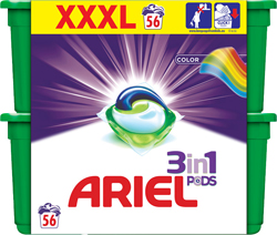 Ariel gelové kapsle 56 dávek, vybrané druhy Globus