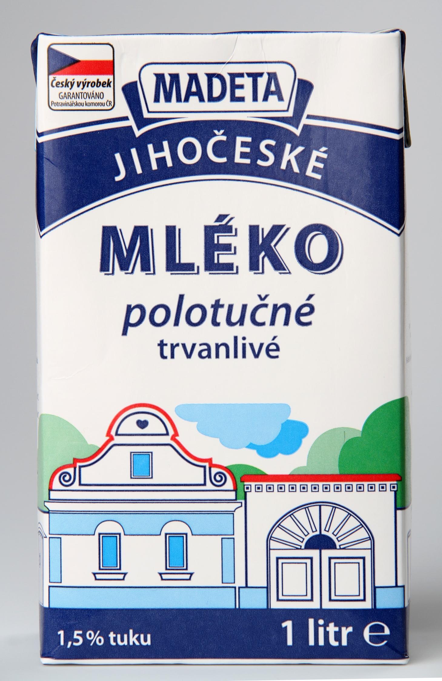 Madeta Jihočeské mléko polotučné