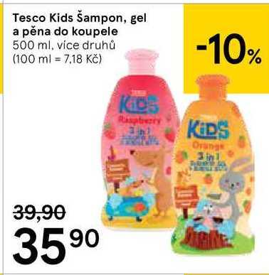 Tesco Kids Šampon, gel a pěna do koupele, 500 ml Tesco
