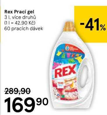 Rex Prací gel, 3 l Tesco