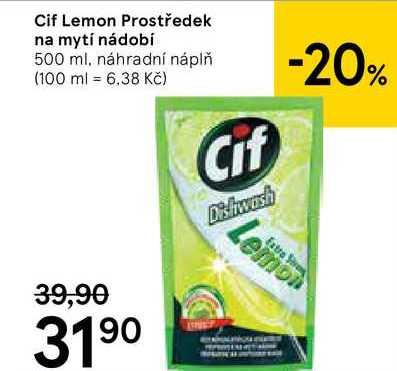 Cif Lemon Prostředek na mytí nádobí, 500 ml Tesco