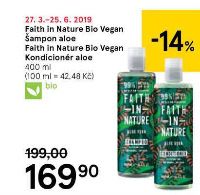 Faith in Nature Bio Vegan Šampon aloe Faith in Nature Bio Vegan Kondicionér aloe, 400 m Tesco