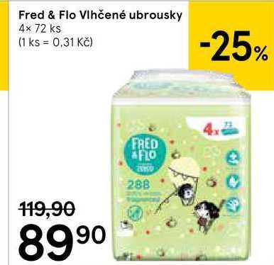 Fred & Flo Vlhčené ubrousky, 4× 72 ks Tesco
