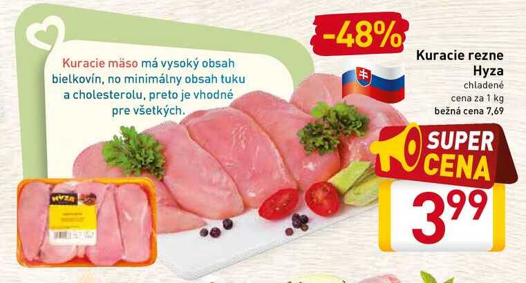 Kuracie rezne Hyza chladené cena za 1 kg